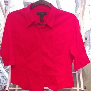 Red 3/4 Short Sleeve Button Down Express Blouse M